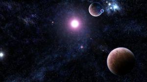 Превью обои галактика, звезды, вселенная, свет, планеты
