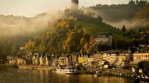 Превью обои германия, кохем, мозель, река, замок