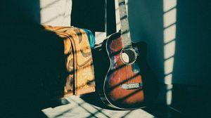 Превью обои гитара, музыкальный инструмент, коричневый, темный, тень