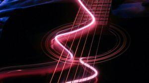 Превью обои гитара, музыкальный инструмент, неон, подсветка