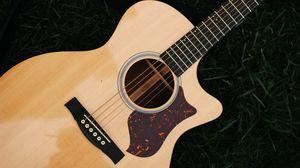 Превью обои гитара, струны, музыкальный инструмент, деревянный