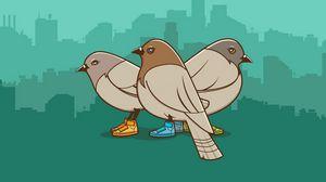 Превью обои голуби, птицы, рисунок