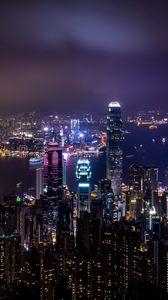 Превью обои гонконг, китай, небоскребы, ночной город, огни города