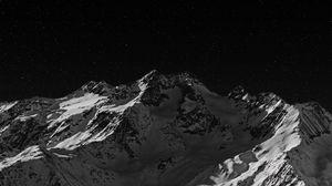 Превью обои гора, вершина, чб, темный, ночь