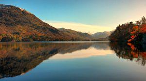 Превью обои горизонт, горы, природа, озеро, деревья