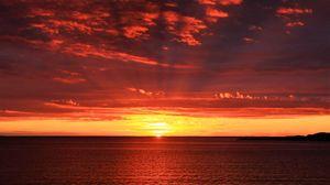 Превью обои горизонт, рассвет, море, солнце