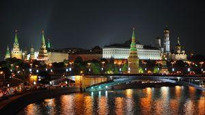 Превью обои город, москва, ночь, огни, мост, отражение, река