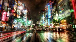 Превью обои город, ночной город, токио, hdr