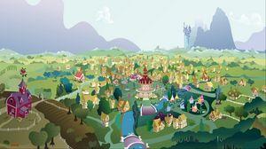 Превью обои город, рисунок, разноцветный, горы, красочный