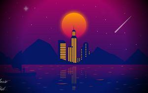 Превью обои город, вектор, арт, ночь, луна