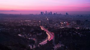Превью обои город, вид сверху, дорога, закат, лос-анджелес, сша