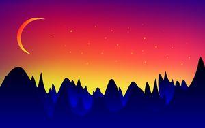 Превью обои горы, луна, пейзаж, вектор