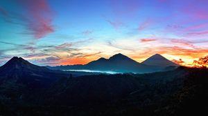 Превью обои горы, небо, бали, восход солнца, кинтамани, индонезия