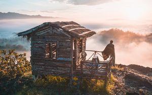 Превью обои горы, одиночество, домик, уединение, индонезия