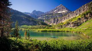 Превью обои горы, озеро, трава, небо, лето