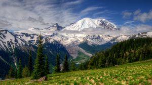 Превью обои горы, пейзаж, mt rainier, вашингтон, трава, hdr