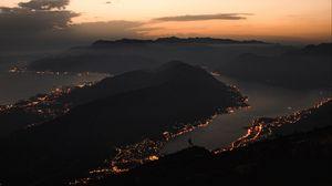 Превью обои горы, побережье, вид сверху, город, ночь, огни