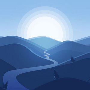 Превью обои горы, река, солнце, пейзаж, вектор, арт