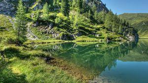 Превью обои горы, трава, небо, озеро