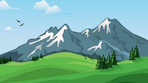 Превью обои горы, вектор, пейзаж, природа