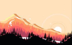 Превью обои горы, закат, арт, вектор, пейзаж