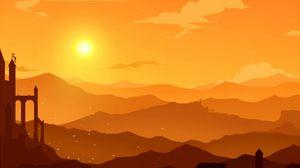 Превью обои горы, вектор, закат, холмы