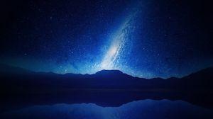 Превью обои горы, звездное небо, млечный путь, ночь