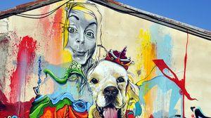 Превью обои граффити, девушка, собака, арт, стрит арт, яркий, разноцветный
