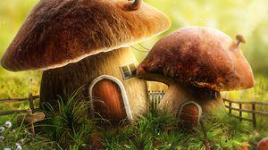 Превью обои гриб, дом, дверь, арт