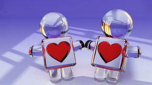 Превью обои игрушки, пара, сердце, стекло, любовь