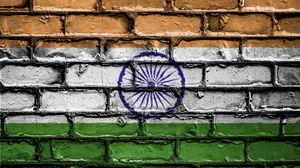 Превью обои индия, флаг, текстура, стена, кирпичный, краска