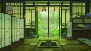 Превью обои интерьер, япония, арт, окно, вид