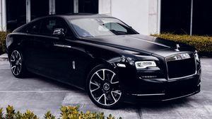 Превью обои jaguar, машина, черный, бампер, фары, литые диски, вид сбоку
