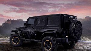 Превью обои jeep, wrangler, dragon, concept, авто, черный, дракон, внедорожник