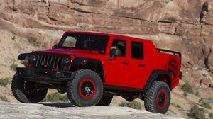 Превью обои jeep, wrangler, красный, вид сбоку