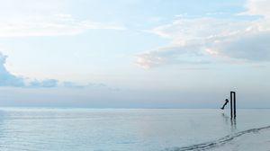 Превью обои качели, море, горизонт, минимализм