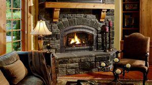 Превью обои камин, стул, кресло, уют, вечер, уютная атмосфера