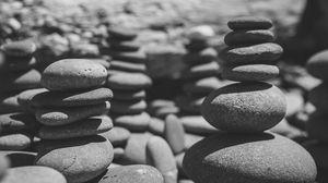 Превью обои камни, море, чб