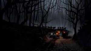 Превью обои карета, лес, ночь, волки, стая