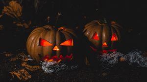 Превью обои хэллоуин, тыква, темный