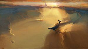 Превью обои кит, море, плавать, дым