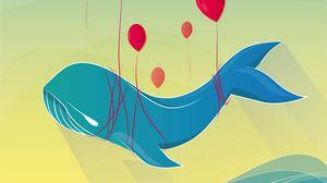 Превью обои кит, воздушные шарики, арт, вектор, полет