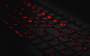 Превью обои клавиатура, подсветка, красный, блики, боке
