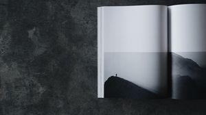 Превью обои книга, чб, силуэт, минимализм
