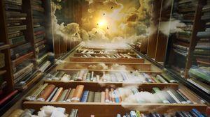 Превью обои книги, библиотека, фотошоп, полки, облака, чтение, полет