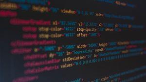 Превью обои код, буквы, экран, размытость, разноцветный, надписи, знаки