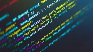 Превью обои код, программирование, символы, строки, разноцветный, текст