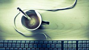 Превью обои кофе, клавиатура, стол