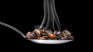 Превью обои кофе, кофейные зерна, ложка, пар