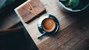Превью обои кофе, пенка, чашка, блюдце, ложка, напиток